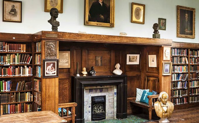 Conway Hall Library fireplace, photo Andrew Shaylor