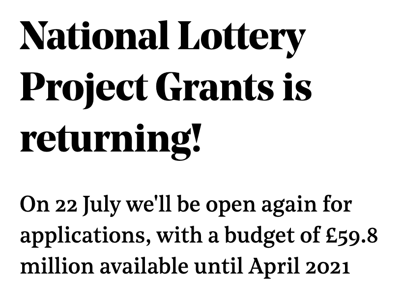 National Lottery Project Grants is returning